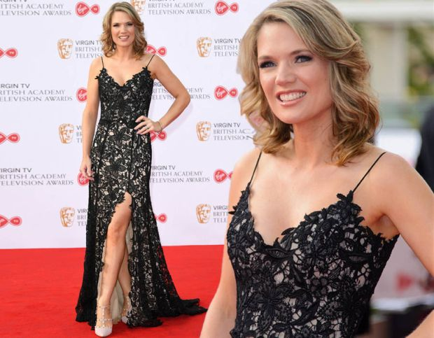 Charlotte Hawkins flaunts her legs at the BAFTA TV Awards