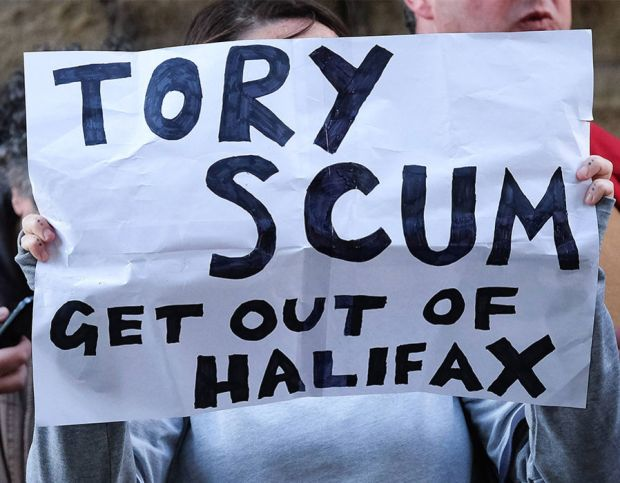 Demonstrations take place before the arrival of Prime Minister Theresa May as she launches the Conservative Party Election Manifesto on May 18, 2017 in Halifax