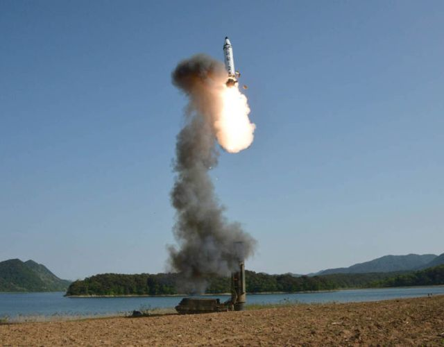 The missile flew 500km towards the Sea of Japan