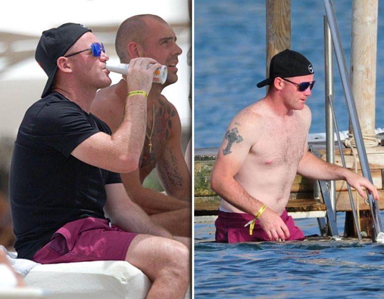 Wayne Rooney with his former Man U Teammate Ryan Giggs Ibiza