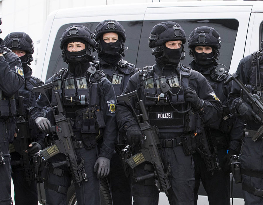 Special police poses for a picture ahead the G20 summit in Hamburg