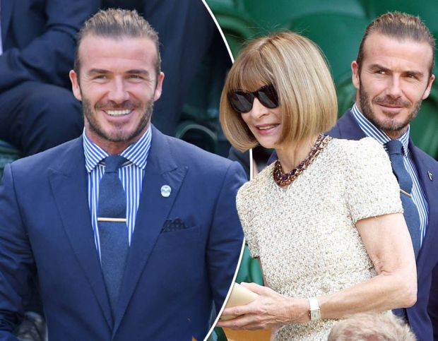 David Beckham and Anna Wintour arrive in the royal box at Wimbledon