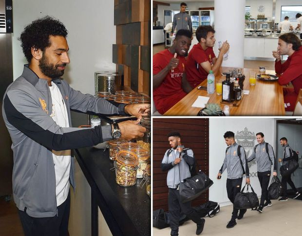 The Liverpool squad enjoyed breakfast at Melwood before heading on tour