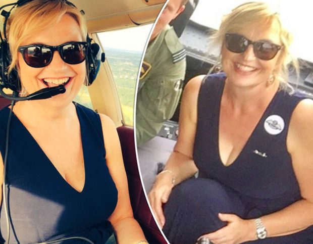 Carol Kirkwood flashes plenty of cleavage in plunging jumpsuit as she takes to the skies