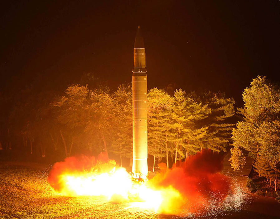 North Korea's intercontinental ballistic missile (ICBM), Hwasong-14 being lauched at an undisclosed place in North Korea