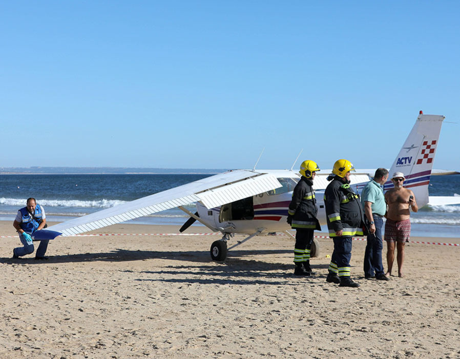 Plane landed on the beach of Sao Joao on the Costa de Caparica