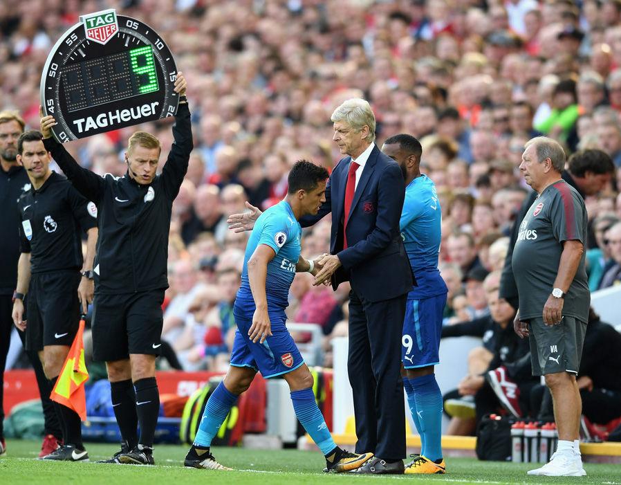 Sanchez exchanged a handshake with Arsene Wenger