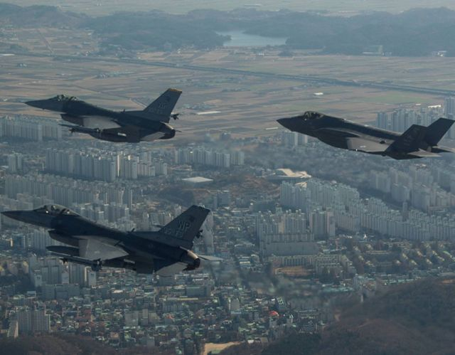 A U.S. Air Force F-35A Lightning II participates in a training mission near Kunsan Air Base in preparation for VIGILANT ACE 18 in South Korea