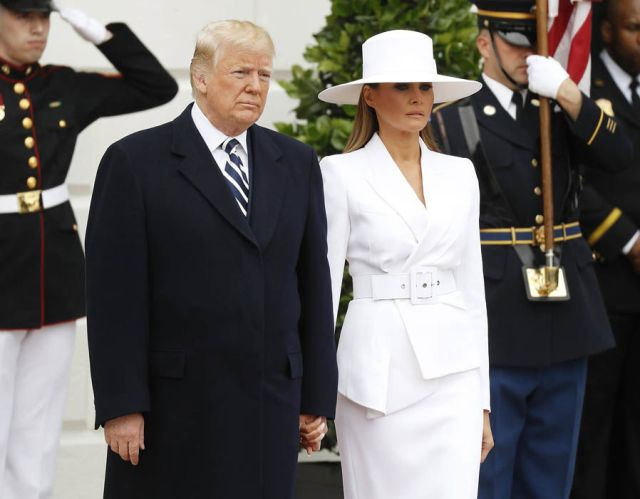 US President Donald Trump and First Lady Melania Trump during an arrival ceremony at the White House in Washington