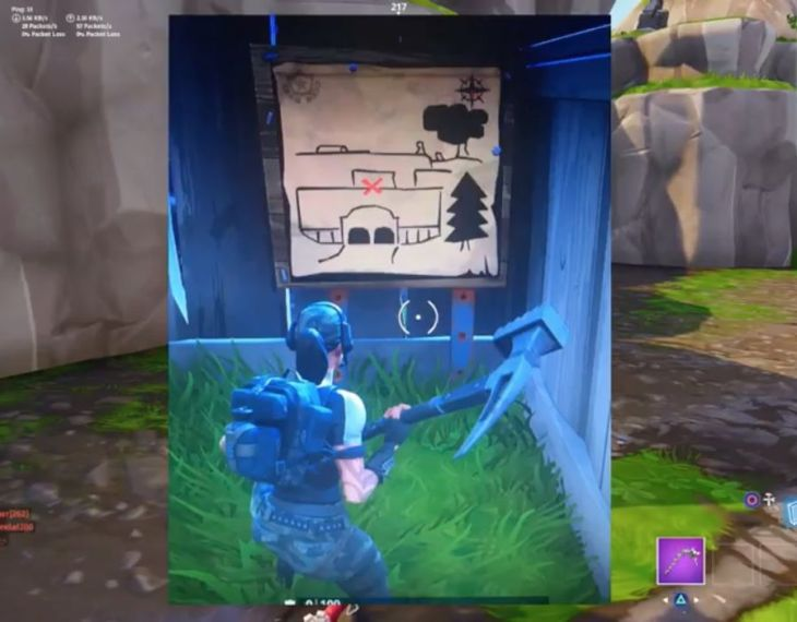 Follow the Treasure Map found in Risky Reels   Fortnite season 5     Here s how to solve the Fortnite Risky Reels treasure map for season 5 week  1