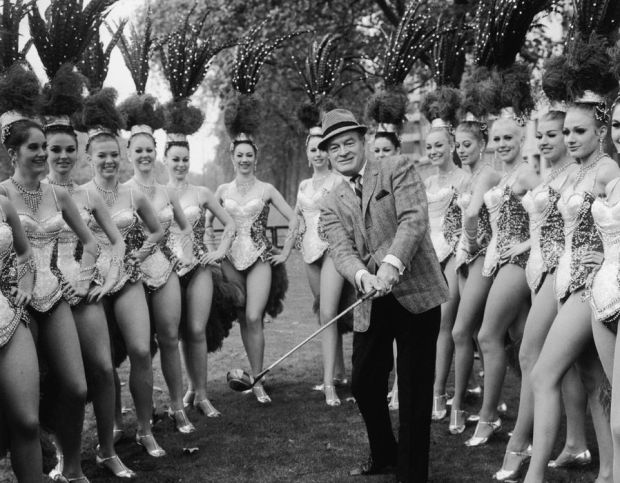 Bob with the Bluebell Girls dance troupe