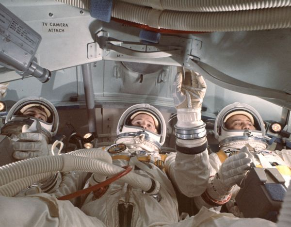 Astronauts Ed White, Roger Chaffee and Gus Grissom going ...