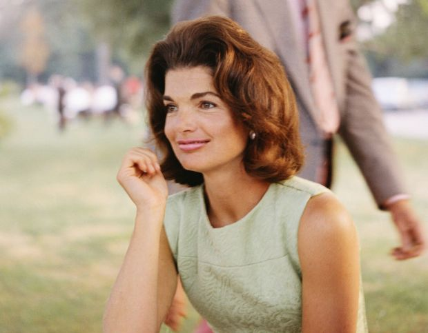 Jackie Kennedy at a picnic, green top