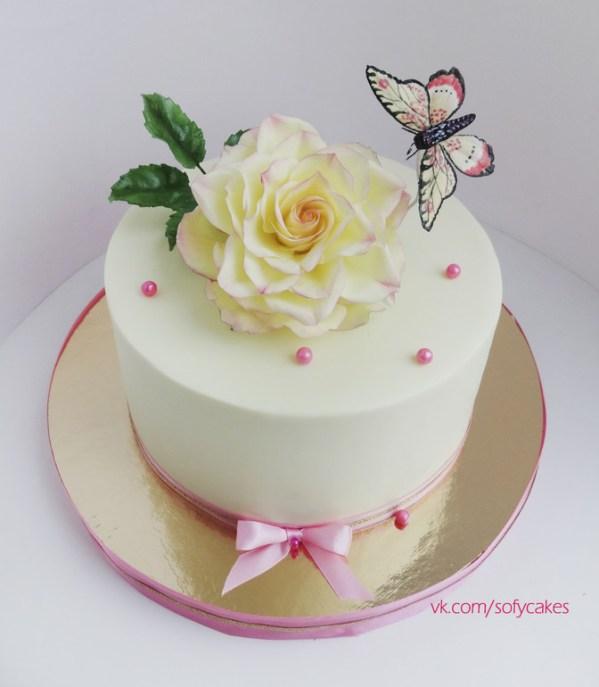 Торт для девушки с розой и бабочкой) - запись пользователя ...