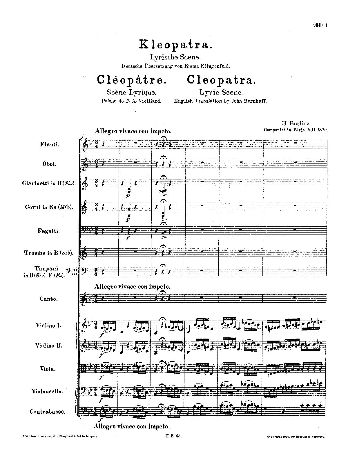La Mort De Cleopatre H 36 Berlioz Hector