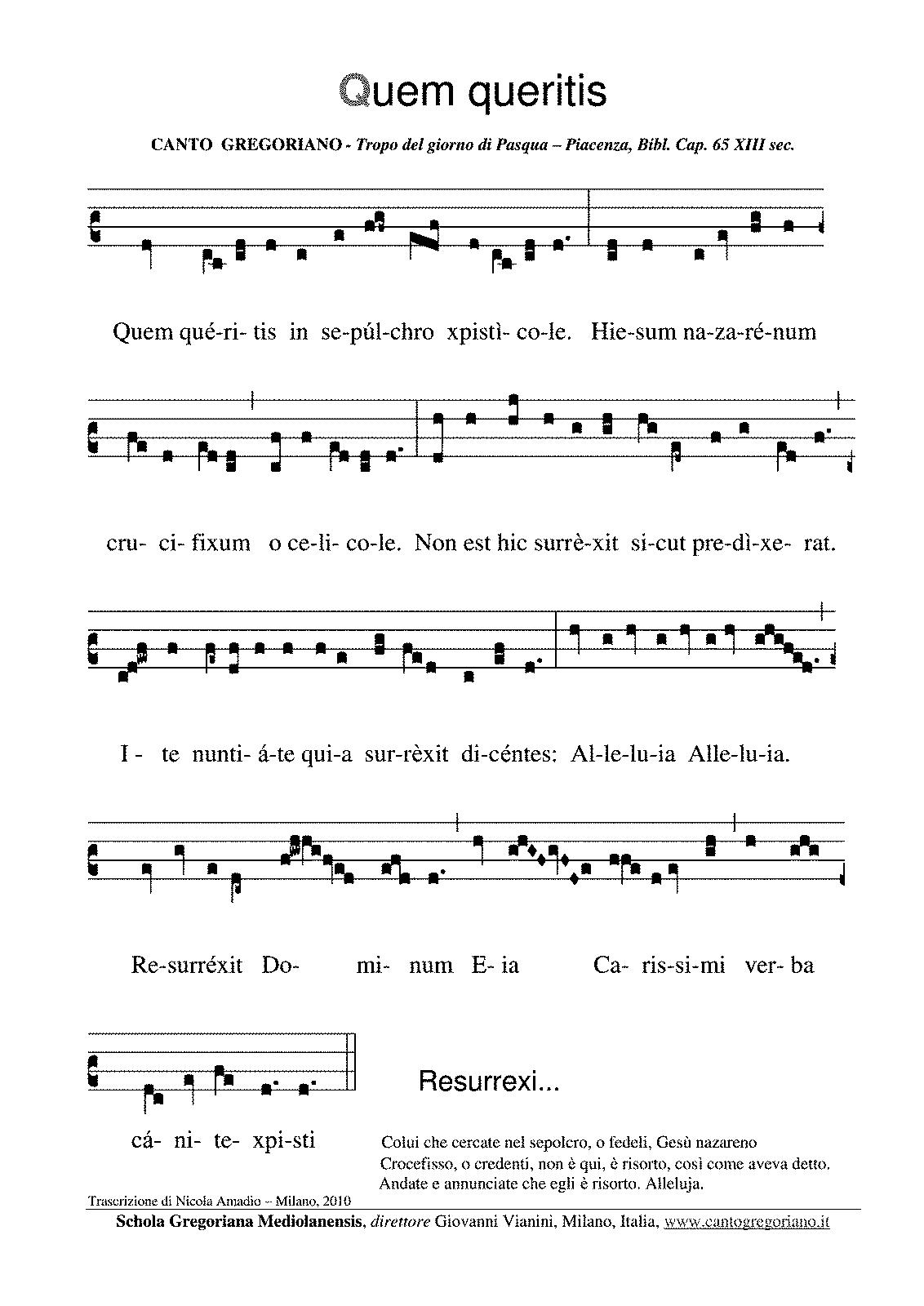 Quem Queritis Gregorian Chant