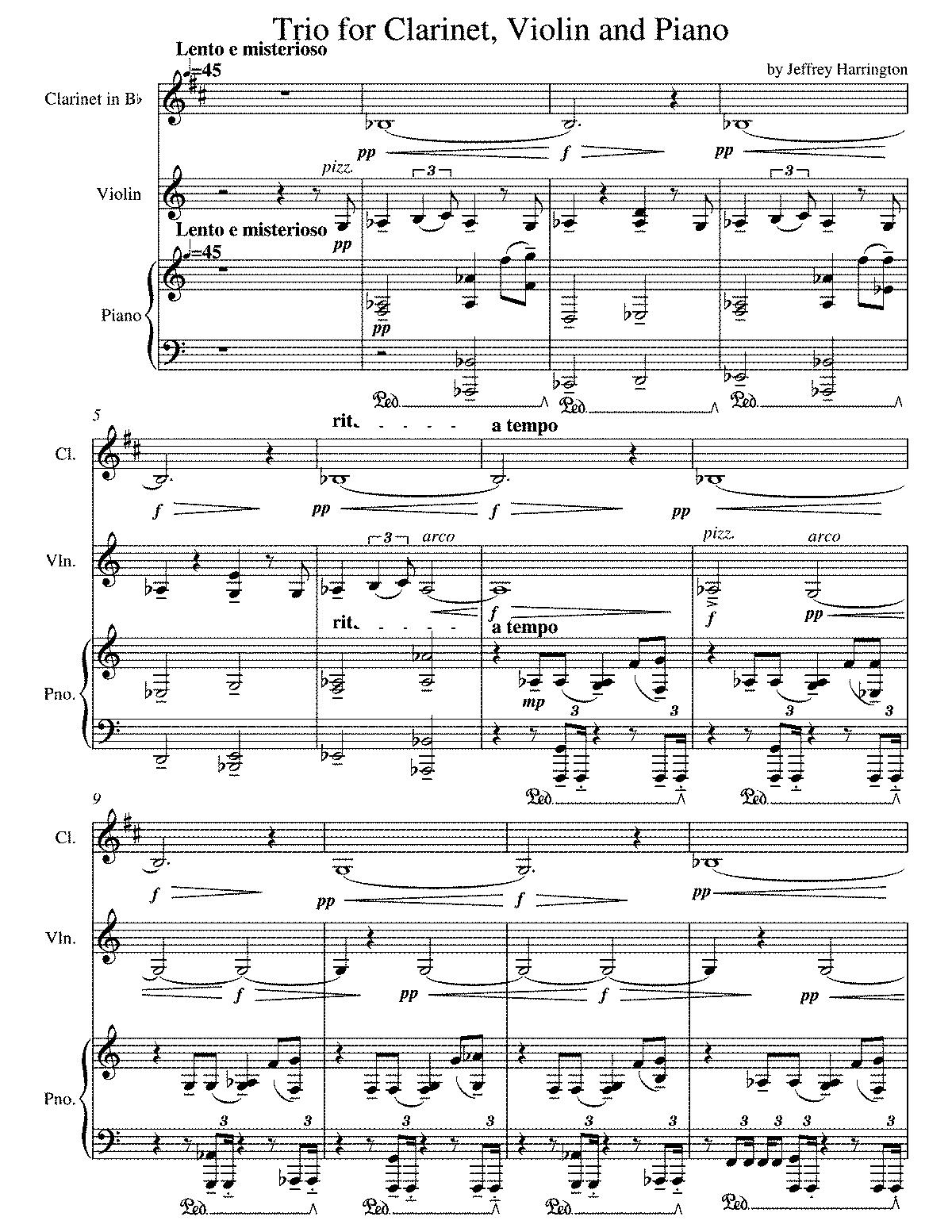 Free Sheet Music Downloads Clarinet Trios