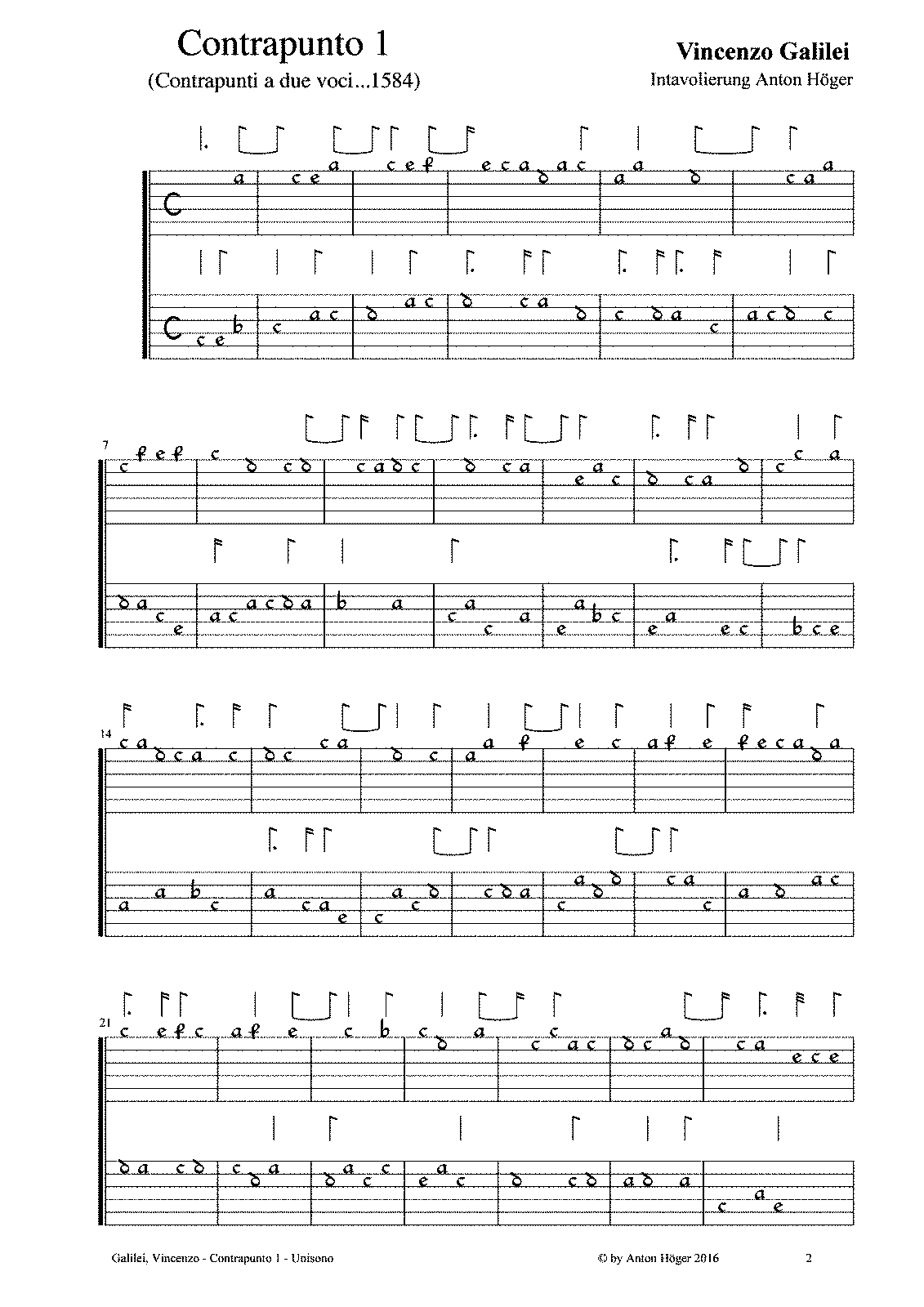 V. Galilei, Contrapunto primo