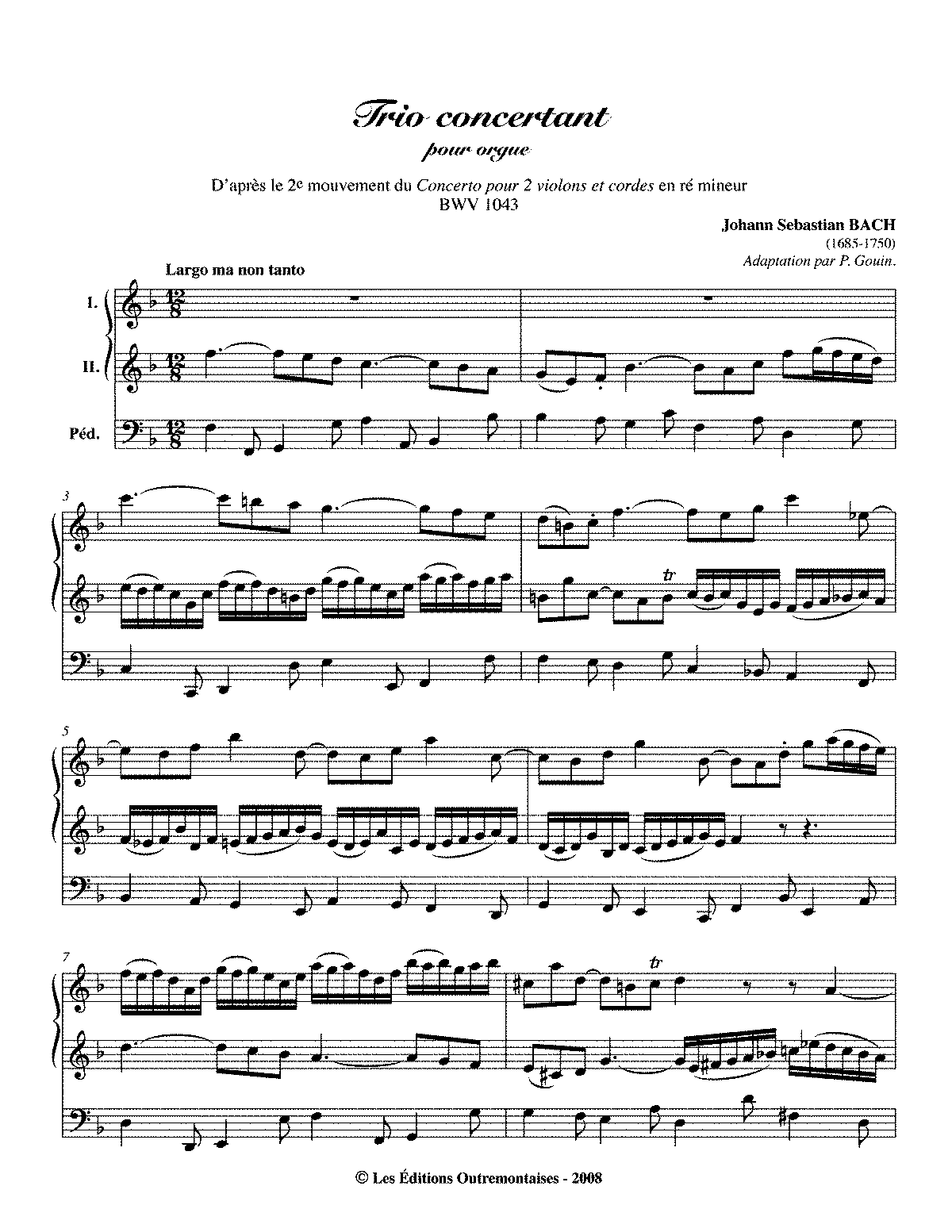 Free Sheet Music Bach Concerto For Two Violins
