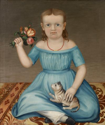Portrait Of A Young Girl Holding A Bouquet Of Flowers And A Cat