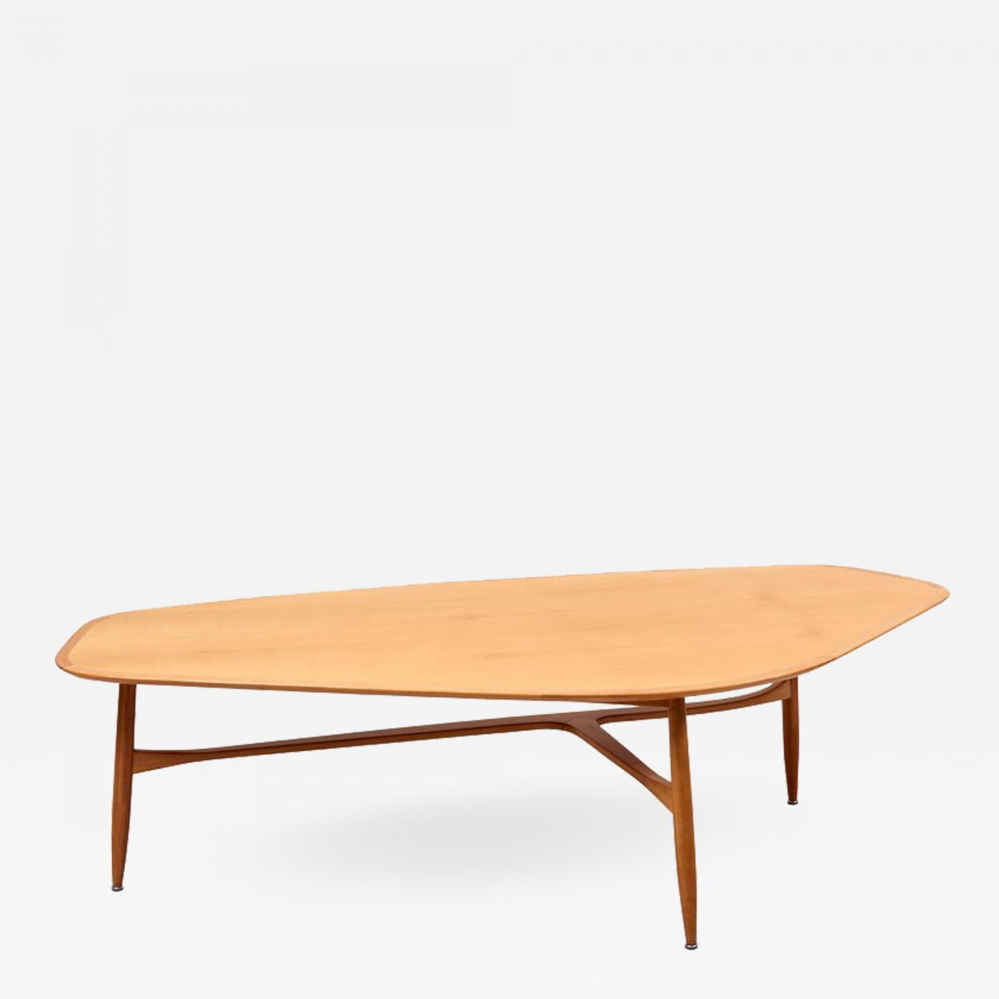 svante skogh large boomerang shaped coffee table in teak wood by svante skogh for laauser
