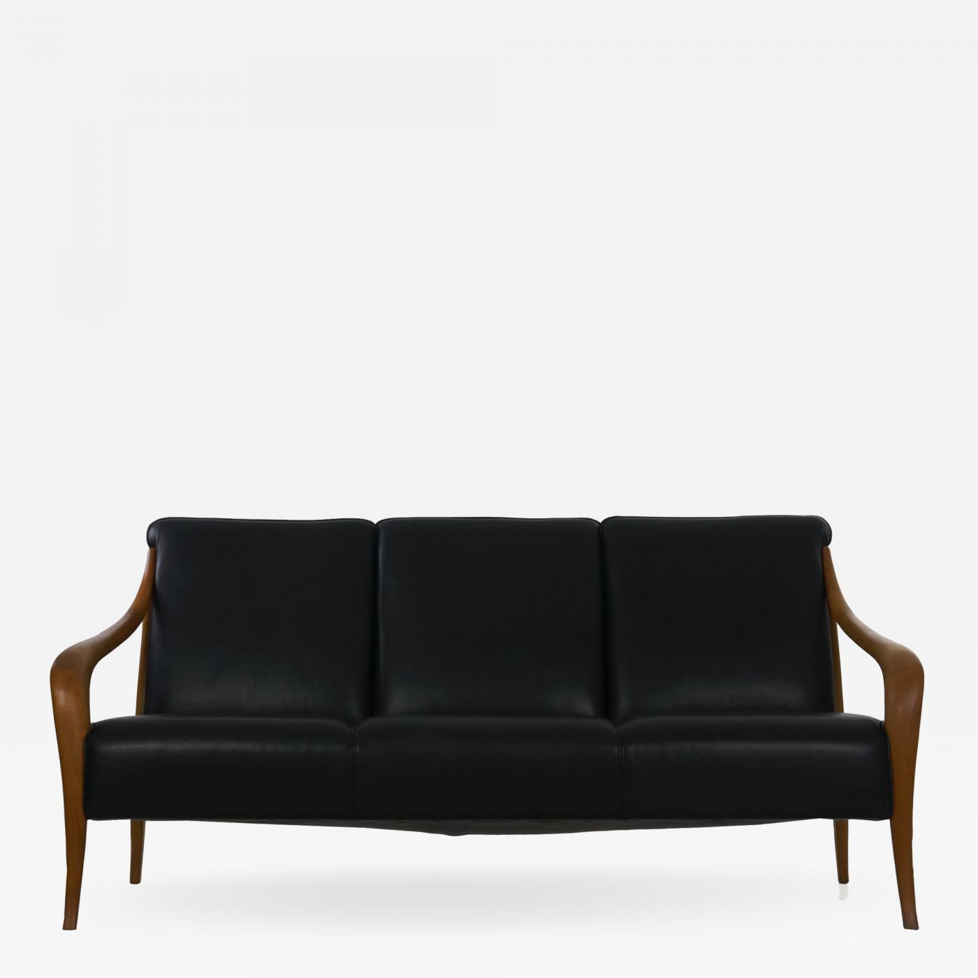 Wagner Danish Mid Century Modern Style Sculpted Teak Black Leather Sofa By Wagner