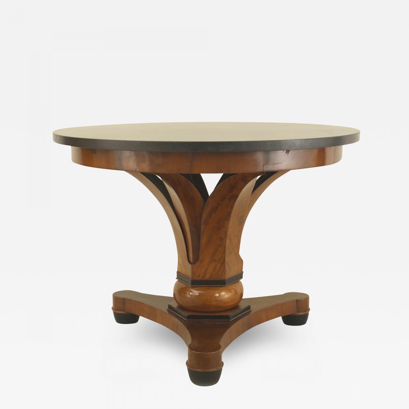 austrian biedermeier mahogany and black marble center table