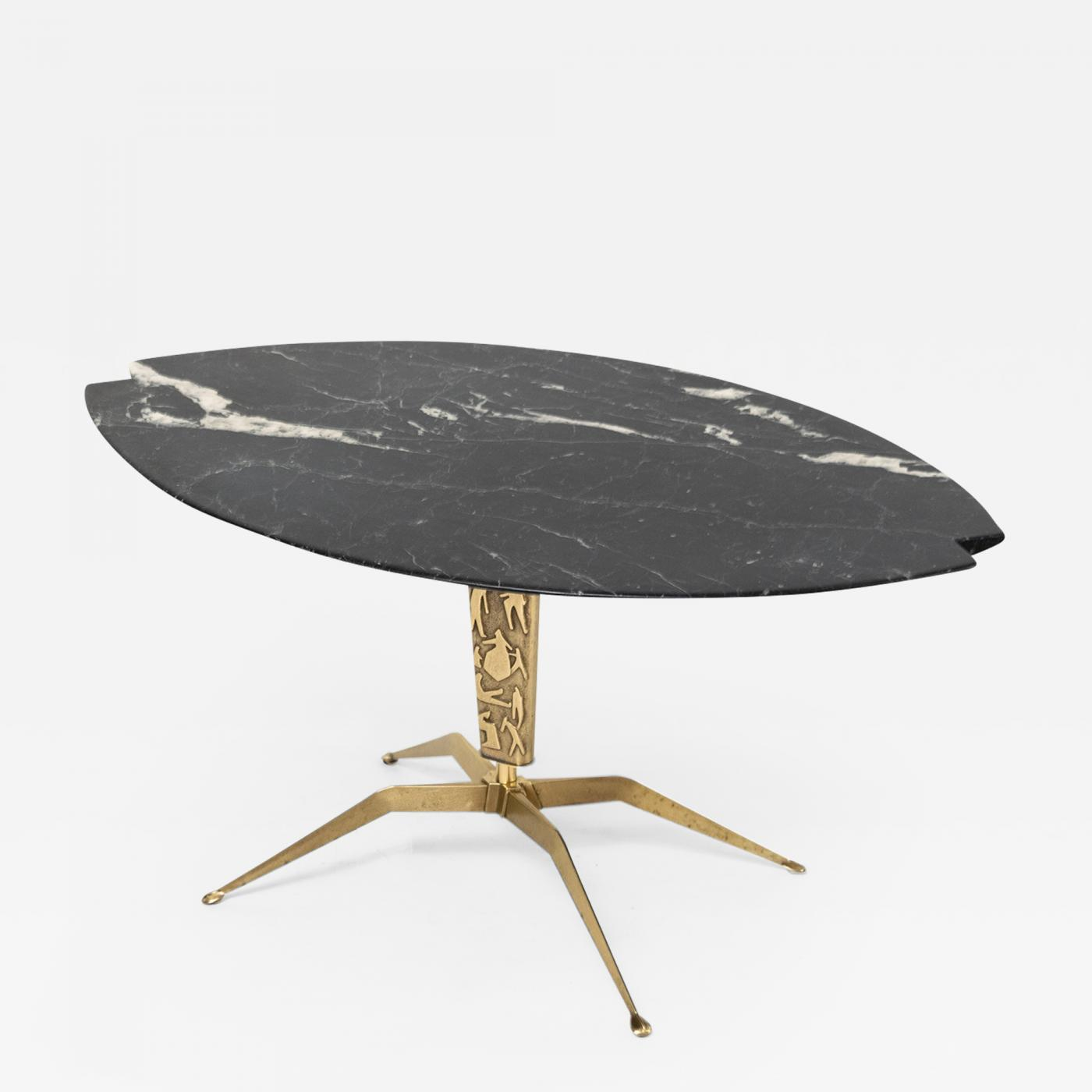 italian mid century coffee table with notched black marble top