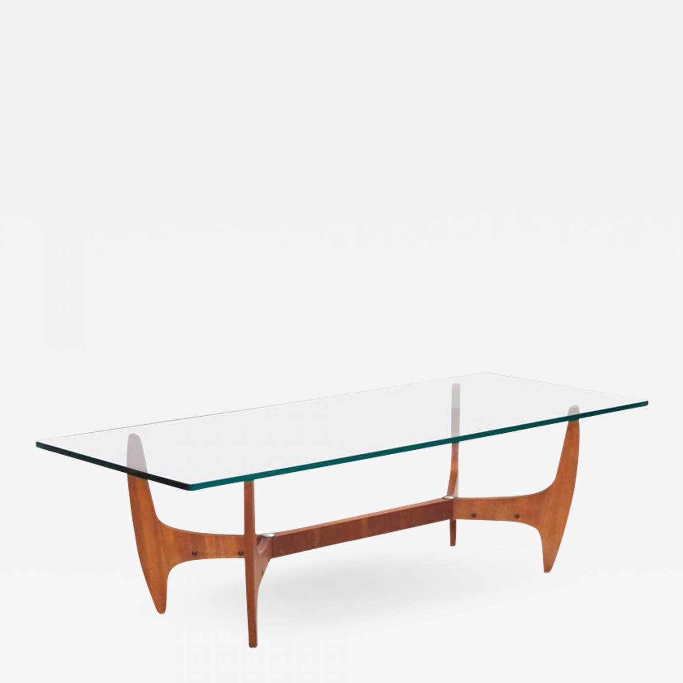 large brazilian midcentury coffee table with thick glass top