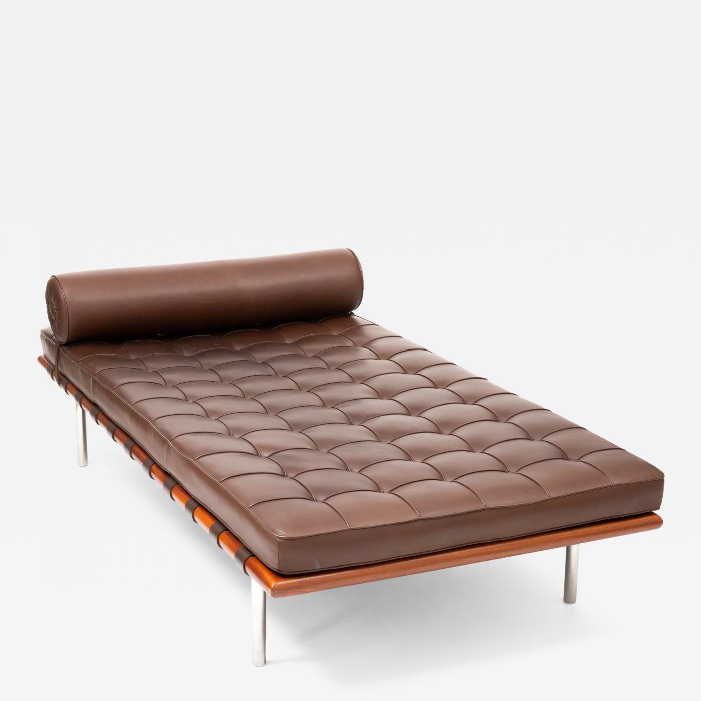 ludwig mies van der rohe barcelona chaise couch in brown leather by ludwig mies van der rohe
