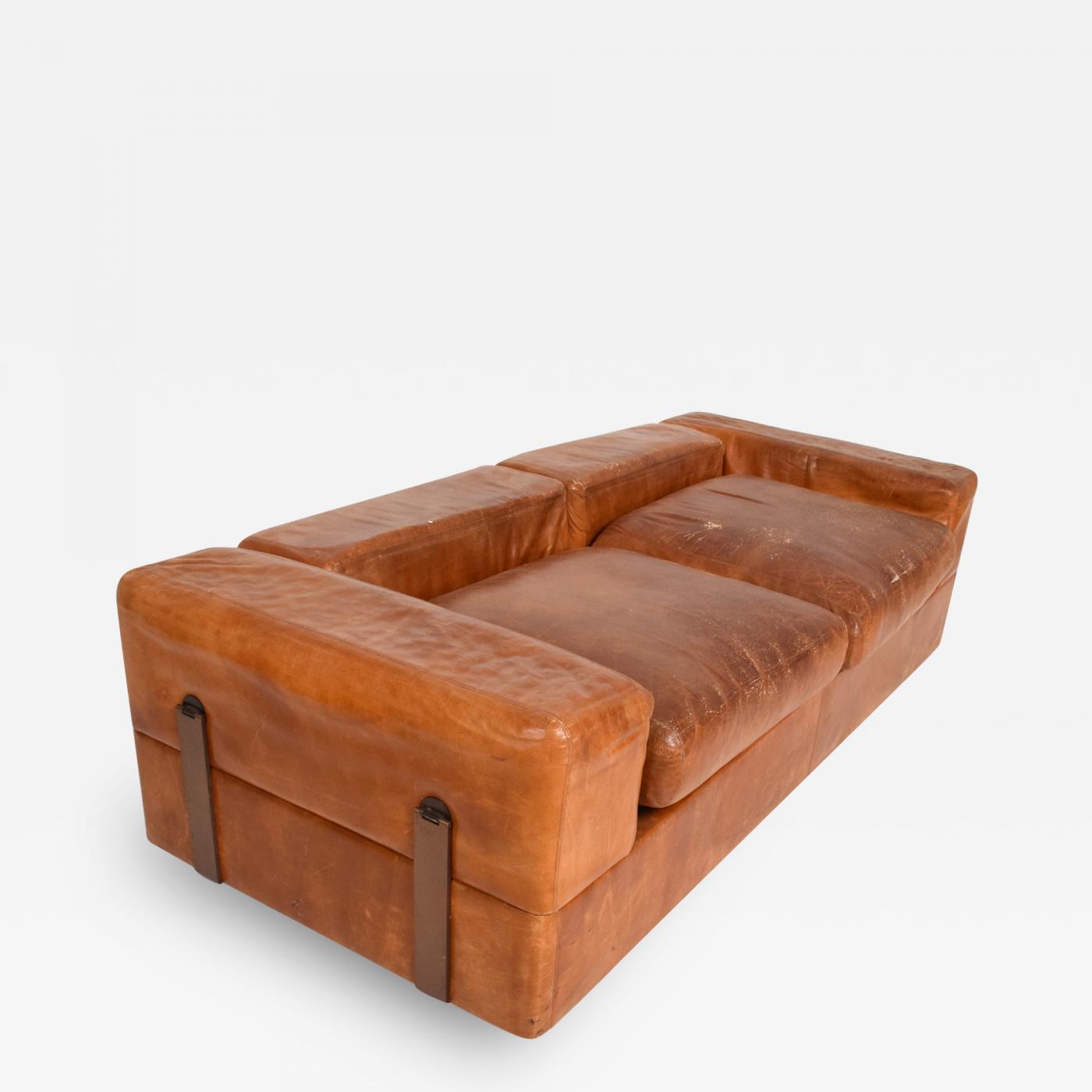Mid Century Modern Italian Leather Sofa Bed