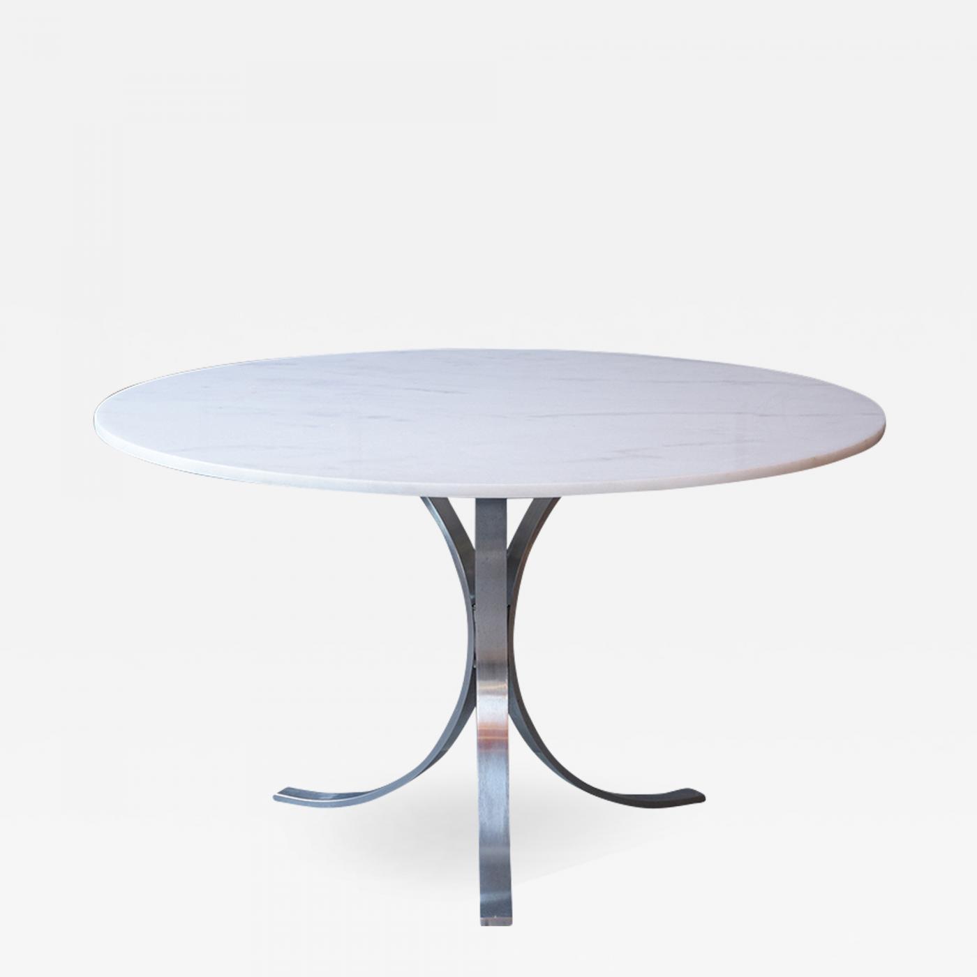 mid century style circular chrome pedestal table