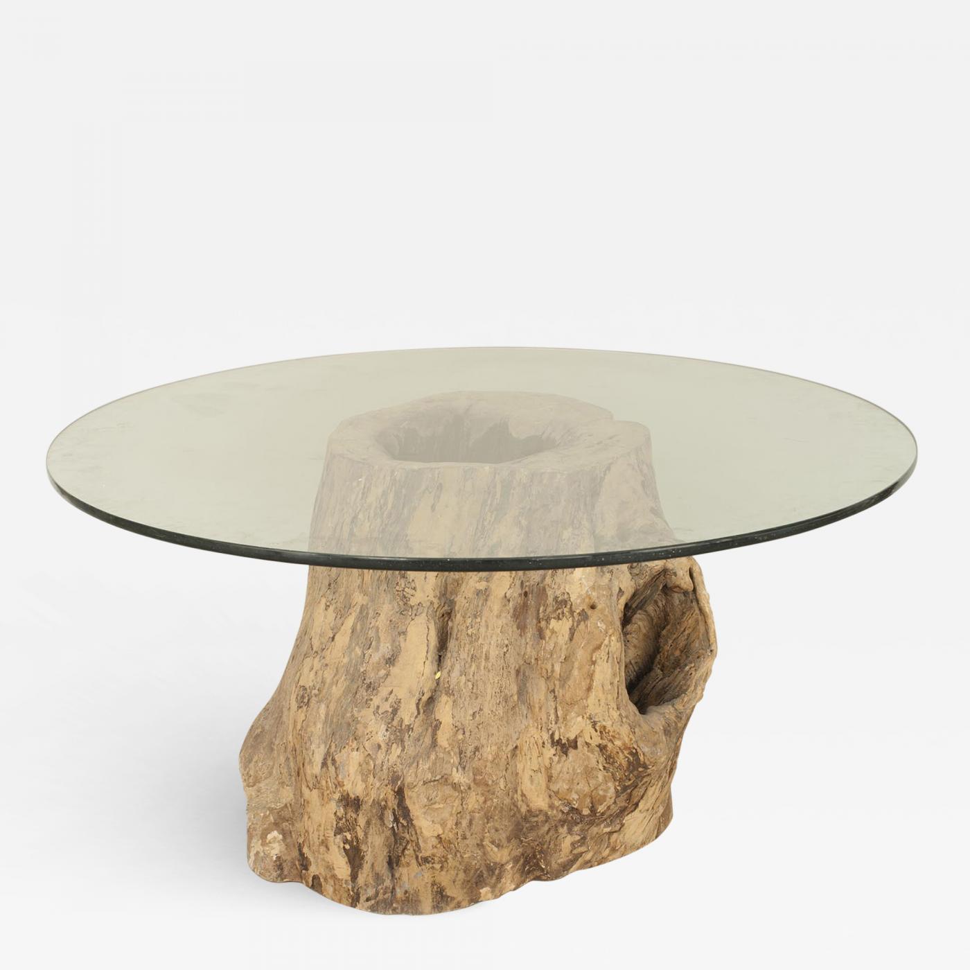 rustic adirondack style large tree trunk base dining table