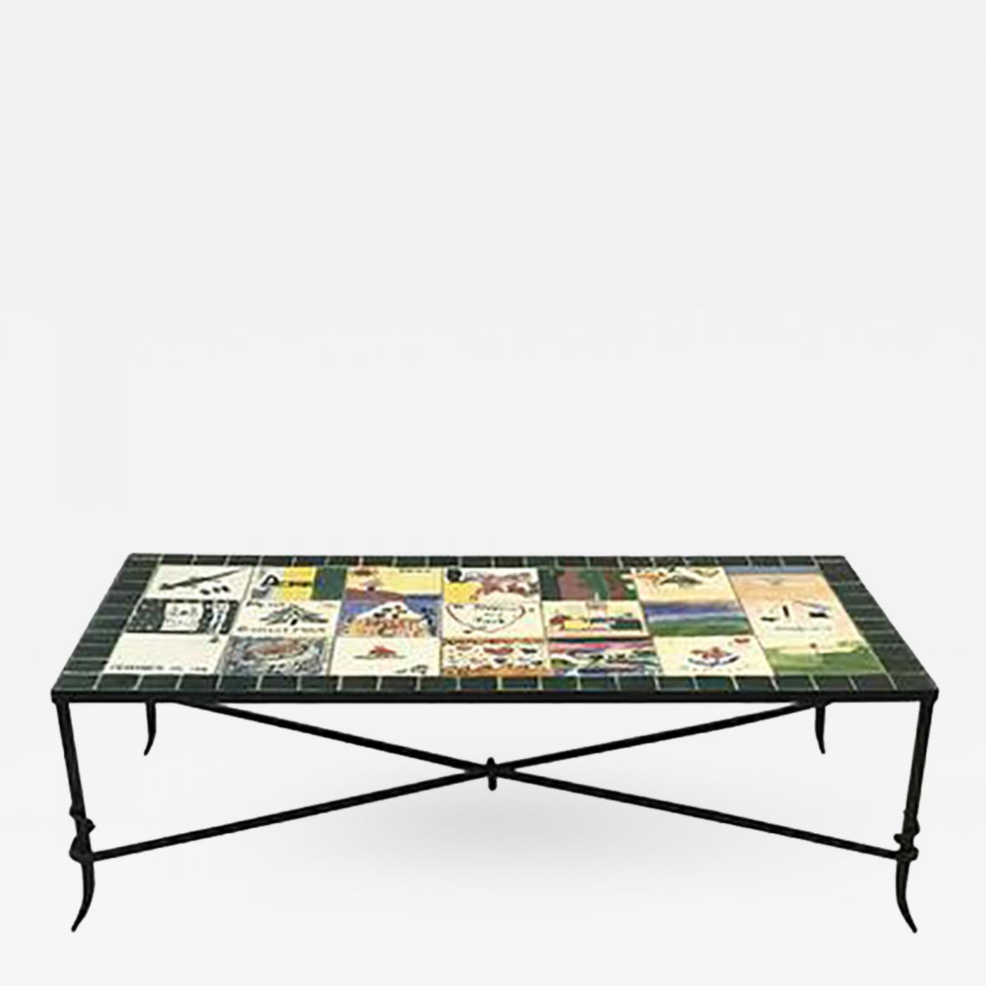 whimsical ceramic tile top coffee table with hand painted nostalgic scenes