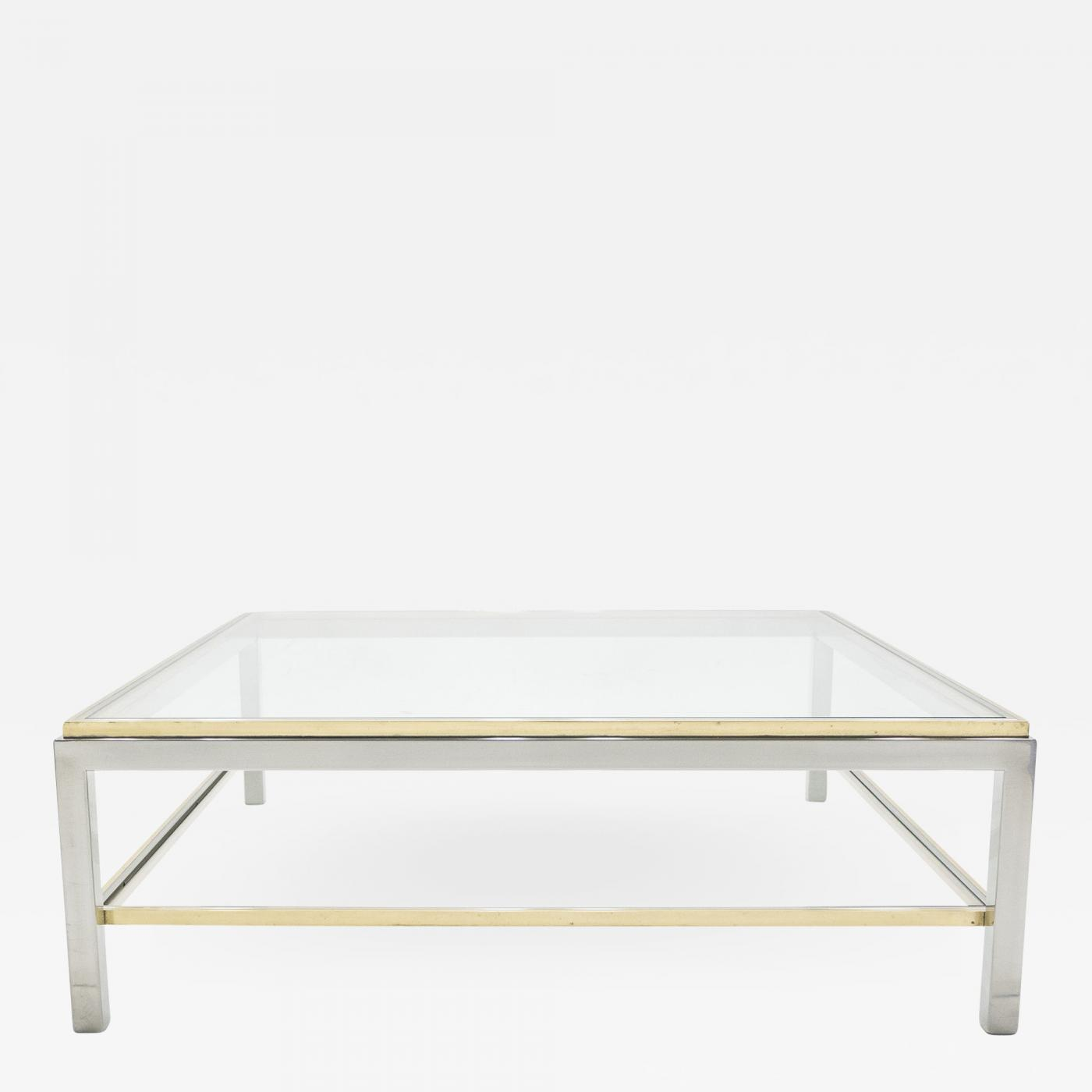 willy rizzo large square two tier brass chrome coffee table willy rizzo flaminia 1970s