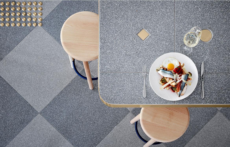platinum terrazzo tile fibonacci