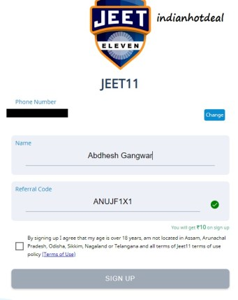 jeet11 signup referral code