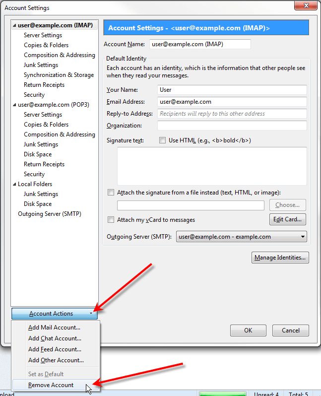 how to change imap to pop thunderbird