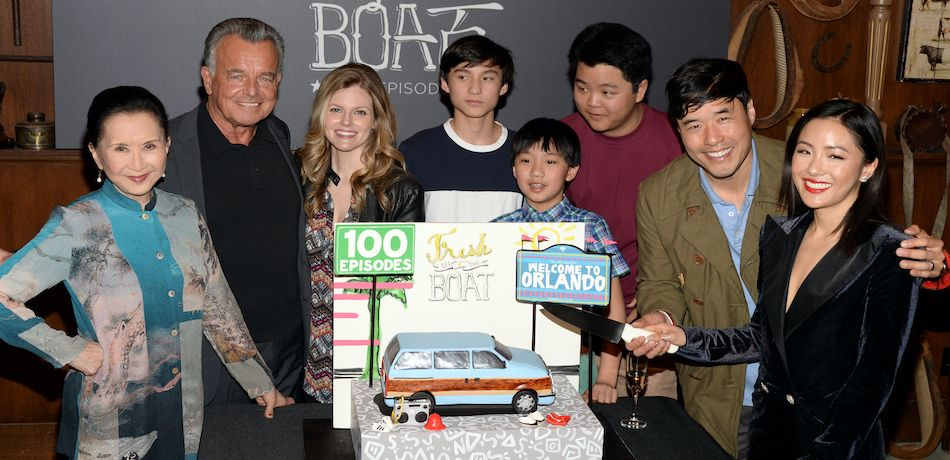 """Fresh Off the Boat"" cast attending the 100th episode ABC celebration at Fox Studios"