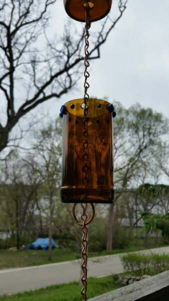 Recycled Bottle Rain Chain, Yard Art, Bottle Rain Chain, Copper Rain Chain, Bottle Chime, One of a Kind Rain Chain, Unique Rain Chain