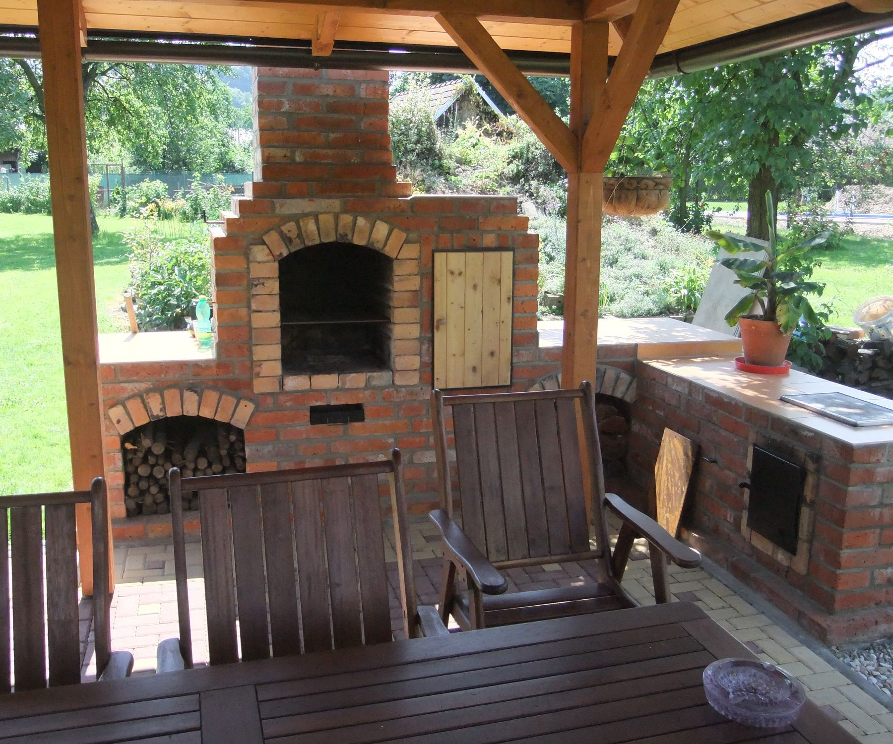 DIY Outdoor Fireplace With BBQ Grill /brick/ on Diy Bbq Patio id=63579