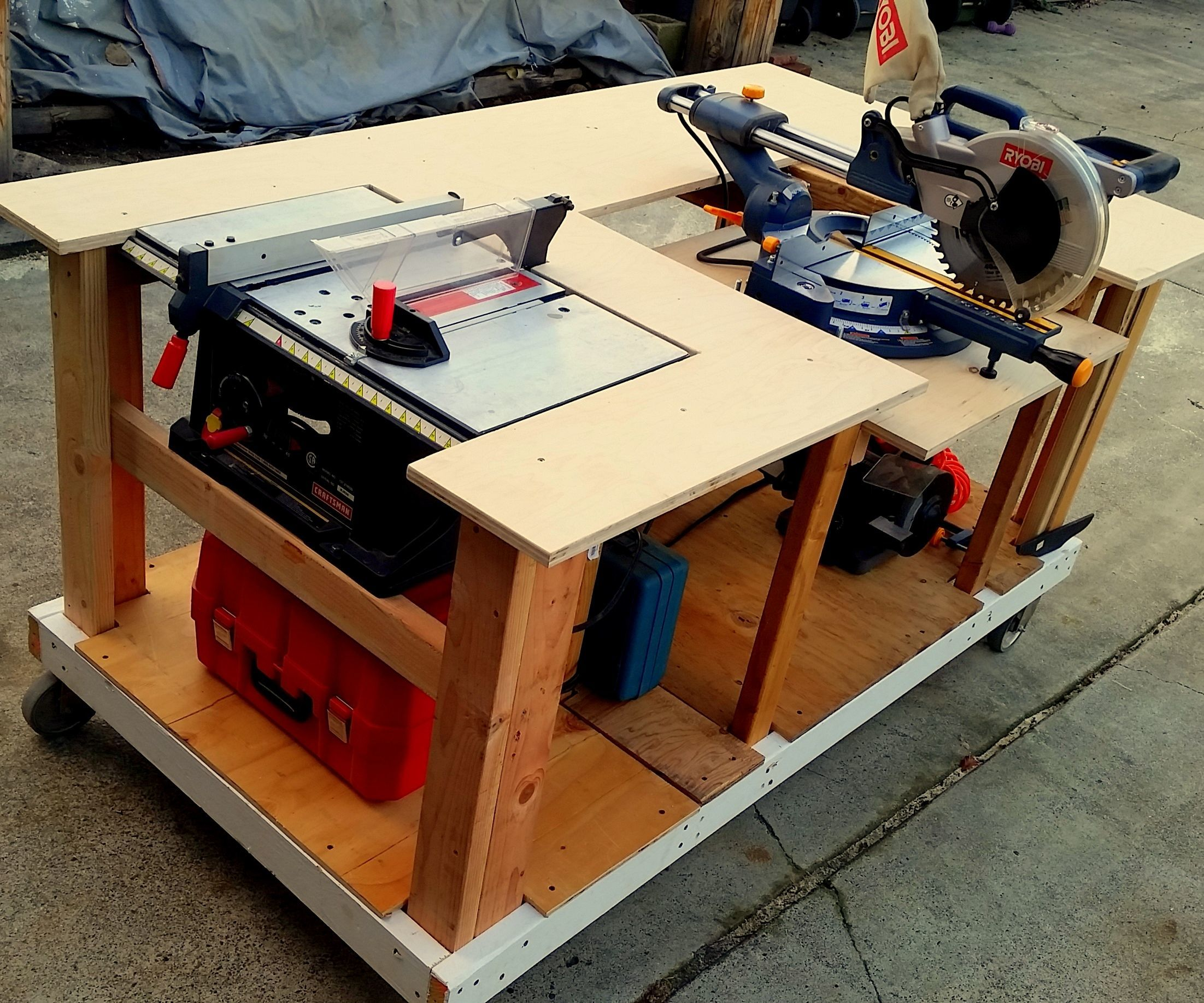 Mobile Workbench With Built In Table Amp Miter Saws 8 Steps