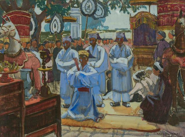 VIRAC Raymond (1892-1946).  Fête bouddhiste, Ha-Dong (Vietnam).