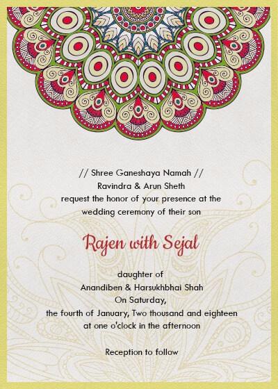 Subtle Bright Colors Mandala Invitation Invites