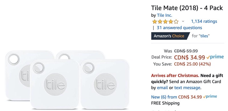 tile mate 4 pack drops 42 off to 34
