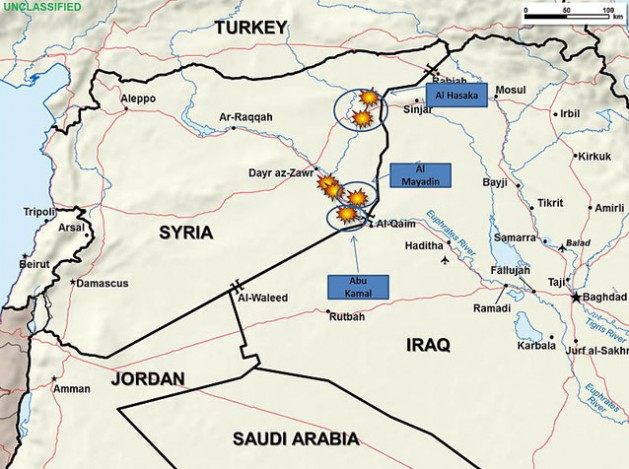 Fighter aircraft from Saudi Arabia, United Arab Emirates and the United States attacked oil refineries in eastern Syria controlled by the Islamic State of Iraq and the Levant, Sept. 24, 2014.   Credit: DoD graphic
