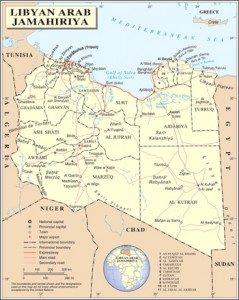 A map of Libya with major cities and settlements.  Credit: United Nations