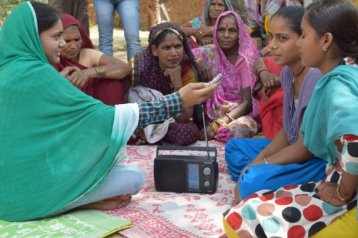 A journalist from Radio Bundelkhand in India conducts an interview. Credit: Stella Paul/IPS