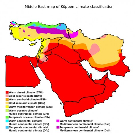 Middle East map of Köppen climate classification | 20 February 2016 | Derived from World Koppen Classification.svg.| Enhanced, modified, and vectorized by Ali Zifan.| Creative Commons Attribution-Share Alike 4.0 International license.| en.wikipedia