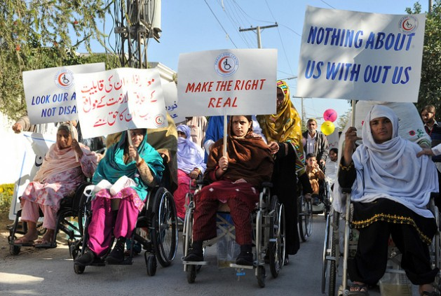 Women with disabilities in Afghanistan protest for their rights. Credit: Ashfaq Yusufzai/IPS.
